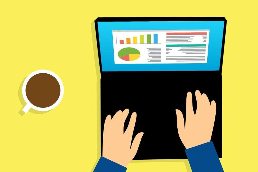 analysis, laptop, business