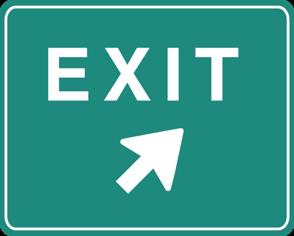 exit, sign, arrow