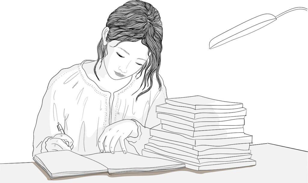 woman, writing, table