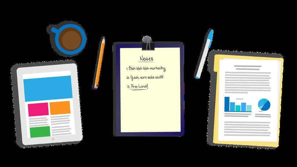 desk, tablet, notes