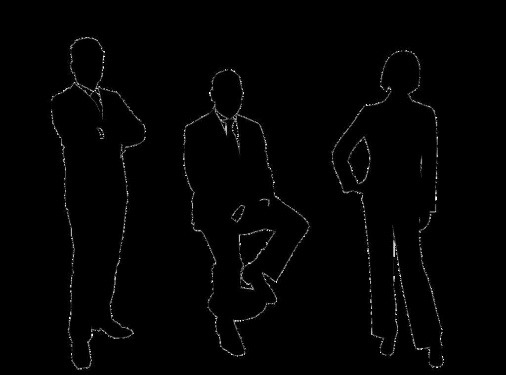 businessmen, group, silhouette